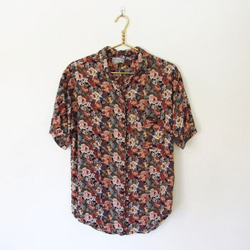 Vintage 1990s Cotton Express / Oversized Floral Print Rayon Blouse / Button-down Shirt / Slouchy Fit