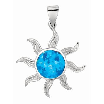 Silver with Rhodium Finish Shiny Textured Created Opal Sun Pendant