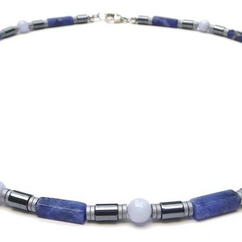"""Inner Peace"" Men's Crystal Healing Necklace Blue Sodalite, Blue Lace Agate, Hematite  MN39"