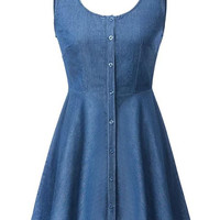 Blue High Waist Denim Skater Dress