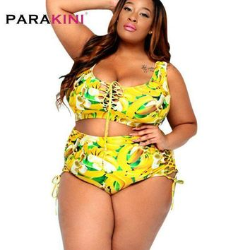 PEAP78W L-3XL Plus Size Tankini 2 Pieces Women Swimwear 2017 New Digital Print Beach Wear Bathing Suit Swimsuit Women's Swimming Suit