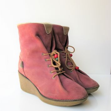 Dolfie Pink Suede Shearling Lined Wedge Ankle Boots 39