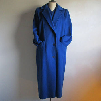 Vintage 60s Coat by Primrose FORSTMANN Wool Blue Haute Couture 1960s Ladies Winter Coat LRG