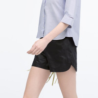 Faux leather sport shorts