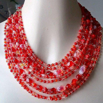 Iridescent Red Pink Necklace Glass Bead, 10 Multi Strand, Givre Beads, Vintage
