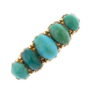 Victorian Antique 18ct Gold Turquoise Ring - Antique Victorian Ring - Victorian Gold Ring - Antique Turquoise Ring - Turquoise Jewelry