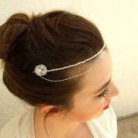 Bridal Headband, Wedding Hair Accessories, Silver Headband, Silver Hair Piece, Bridal Halo, Forehead Band