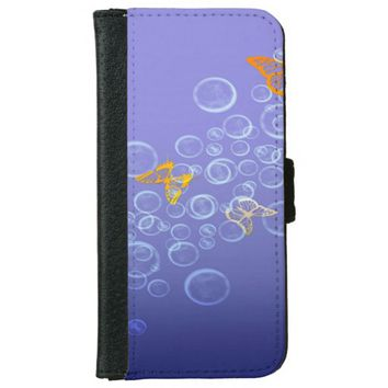 Bubbles n Butterflies Wallet Phone Case For iPhone 6/6s