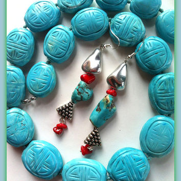 Turquoise Bead Strand Necklace & Earrings,Silver Carved  Hubei Beads Asian Ethnic, Engraved Turquoise Tribal Coral Collar, Handmade in Italy