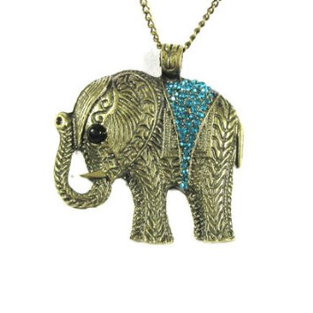 Elephant Necklace Turquoise Blue Crystal Animal NC23 Tribal Vintage Charm Pendant
