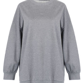 Grey Round Neck Long Sleeve Sweatshirt
