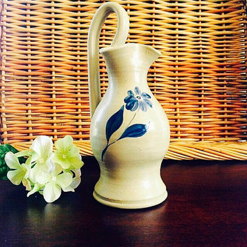 Pottery Vase, Salt Glazed Cobalt Blue Flower, Vintage Collectible Pottery Home Decor