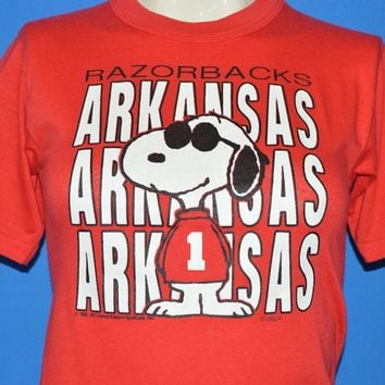 80s Arkansas Razorbacks Snoopy Football t-shirt Youth Large