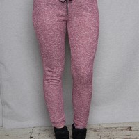Active USA Basics Heathered Drawstring Joggers With Piped Side Pockets - Burgundy