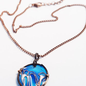 Scorpio pendant resin necklace. Zodiac Jewelry . Wire wrapped. Bright blue. Summer. Gifts for her. unique. handmade. dark copper.