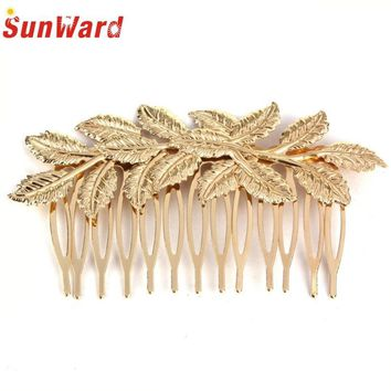 SunWard  Hot Fashion New Gold Punk Women Girls Golden Leaf Hair Comb Hair Clip Headband Jewelry for Women Lady Perfect Gift *10