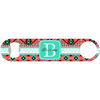 Personalized Aztec Tribal - Coral Bottle Opener