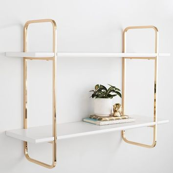 Metallic Trim Wall Bookcase