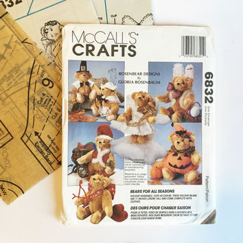 Vintage McCalls Crafts Halloween Teddy Bear Sewing Pattern