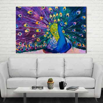 Canvas Prints Home Decor Modern Animal Wall Art Painting Peacock Unframed Modern Vintage Blue Peacock Wall Painting