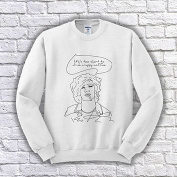 Life's Too Short to Drink Crappy Coffee - Matty Healy - The 1975 - Band - Music Festival - Matt Healy - Tumblr - Inspired Crewneck Sweater