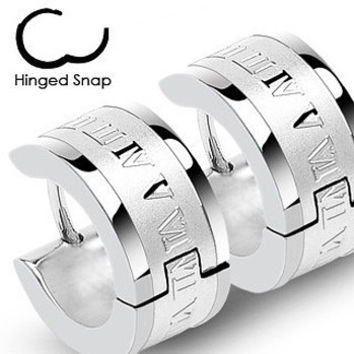 Roman Times - Stainless Steel Hinged Hoop Earrings with Engraved Roman Numerals