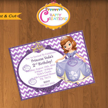 Sofia the First Invitation - Sofia Invite - Sofia the first Invite-Sofia Birthday Invitations-Sofia the First Party Printables-Disney Invite