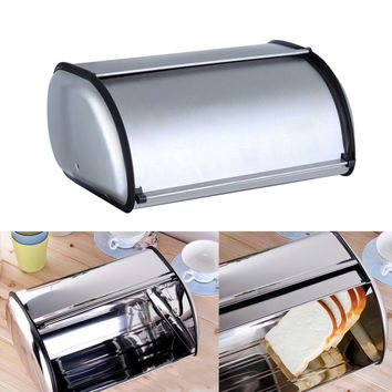 Large Roll Top Stainless Steel Bread Box