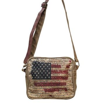 Vintage Flag Crossbody Bag with Leather Strap.  Distressed/Retro.