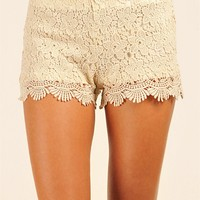 Necessary Clothing - Lauren Lace Shorts - Beige