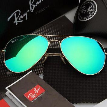 PEAP2Q ray ban aviator sunglasses green flash gold frame rb3025 112 68f 58mm
