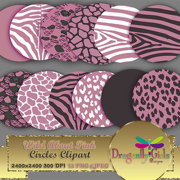 "80% OFF Sale WILDAbout Pink 8"" Clip Art, commercial use,digital scrapbook papers, vector graphics, printable, Instant Download"