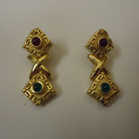 Designer Fashion Earrings Clip-On Metal Female Adult Gold/Green -- Preowned