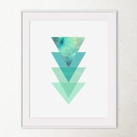 Triangle Art Print, Blue Geometric Printable Art, Turquoise Blue Triangle Wall Print, Abstract art print, Office Decor, Triangle Home Decor