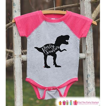 Dinosaur Birthday Shirt - Party Dino Partysaurus Shirt or Onepiece - Baby Girl, Youth, Toddler, Birthday Outfit - Pink Baseball Tee
