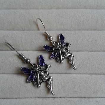 fantasy purple glitter  fairy  silvertone  dangle earrings