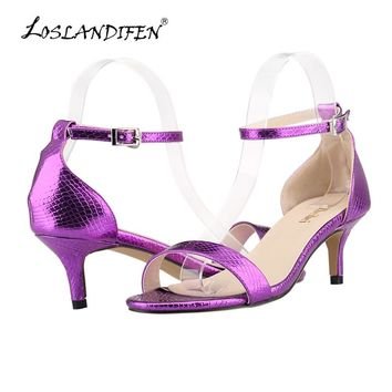 LOSLANDIFEN New Women Shoes Sandals Faux Crocodile Open Toe Ankle Straps High Heels Summer BRIDAL PATENT LEATHER 105-1XEY