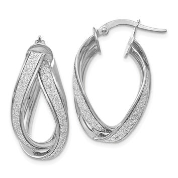 Leslies 14k White Gold Glimmer Infused Double Twist Earrings LE850