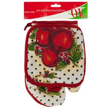 Quilted Fruit Print Oven Mitt & Pot Holder Set