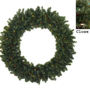 "60"" Pre-Lit Commercial Canadian Pine Artificial Christmas Wreath - Multi Lights"