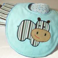Boy Burp Cloths - Baby Boy Bib - Baby Gift Set - Minky Burp Cloths -Hippo applique Baby Bib