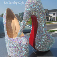 Christian Louboutin GENUINE Swarovski crystals encrusted diamond platform pumps