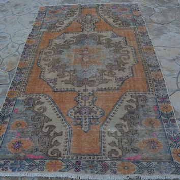 Antique Pink Kilim Rug, Oriental Bright Color Orange Rug, Rainbow Area Mandala Rug,  4.2 x 7.6  Feet AG998
