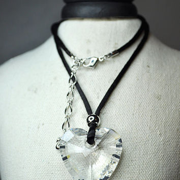 vintage htm parisienne large crystal xl vie clear ss necklaces pendant la