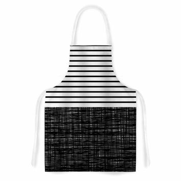 "Trebam ""Platno (with Black Stripes)"" Black White Artistic Apron"