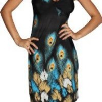 Alki'i Peacock Feather Print Casual Evening Party Cocktail Dress - Blue L/XL