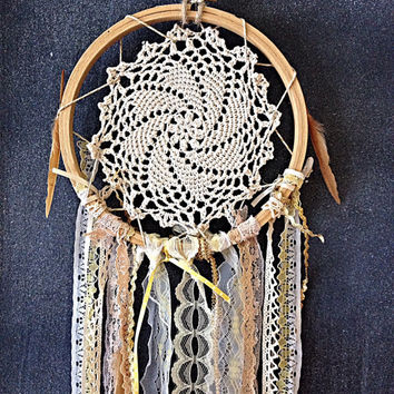 Dream Catcher cream gold beige doily girls room teen room decor boho chic gift for her wall hanging valentines day