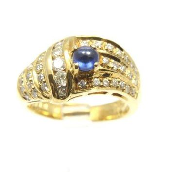 0.43CT GENIUNE CABOCHON SAPPHIRE & DIAMOND RING IN HEAVY SOLID 18K YELLOW GOLD