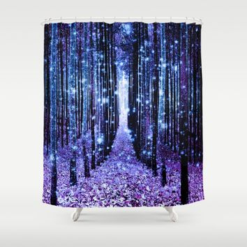 Magical Forest Turquoise Purple Shower Curtain by 2sweet4words Designs