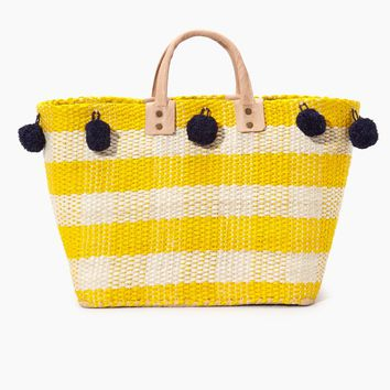 Pompei Woven Raffia Gingham Tote W/ Poms And Leather Handles - Sunflower
